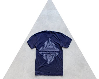 Mens tshirt. Graphic tee for men. Geometric triangle print. Nautical stripes on navy blue. Rule of Thirds t shirt for him.