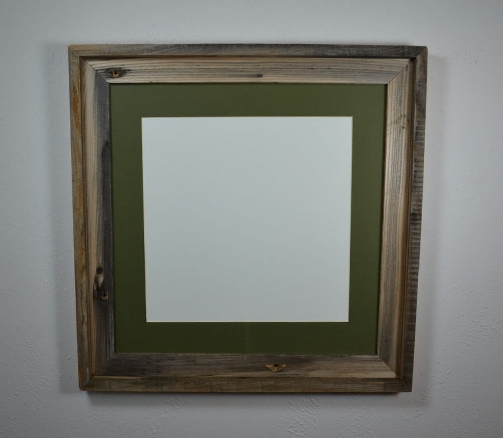 16x16 Reclaimed Wood Picture Frame With 12x12 Mat By