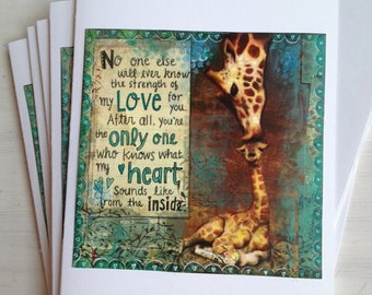 Greeting Card For Beloved Baby - No One Will Ever Know the Strength of My Love For You-Print of my Original Mixed Media Art by ValsArtStudio