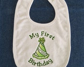 My First Birthday  Baby Bib - Party Hat - Custom Colors Welcome....