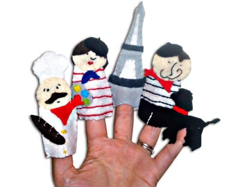 Paris, France, French Finger Puppets / Felt Children's / Chef / Artist / Eiffel Tower / French man / Poodle / Stocking Filler