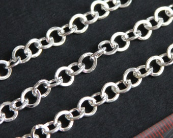 5ft of Silver  plated flat round cable chain 6mm, chunky silver chain, charm bracelet chain