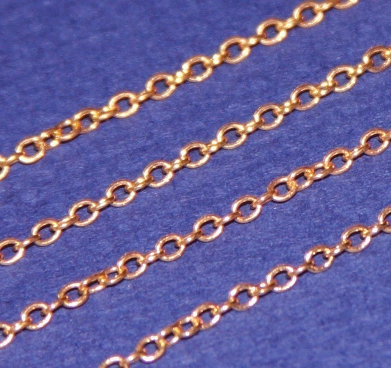 10 ft spool of Gold plated Brass round cable chain 2X2.5mm