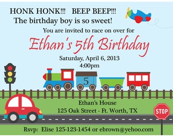 20 Personalized Birthday Invitations   -  Planes, Trains and Automoblie Design