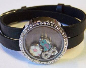 NEW!! Leather CZ Locket Charm Bracelet, will hold any brand of floating charms