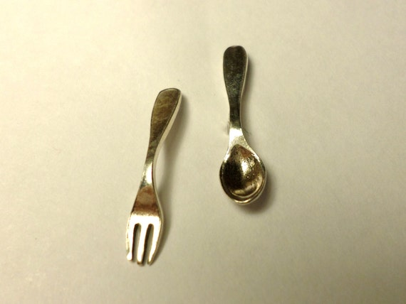 small sterling silver fork spoon earrings by