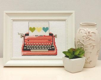 Pink Retro Typewriter Cross Stitch Pattern Instant Download