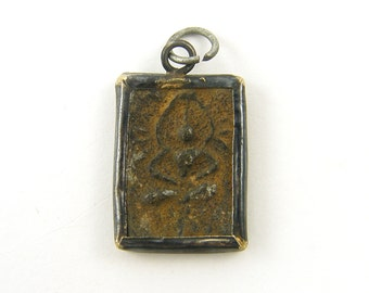Buddha Pendant - Rustic Rectangle Distressed Sandstone Asian Tribal Amulet Pendant |BD2-13|1