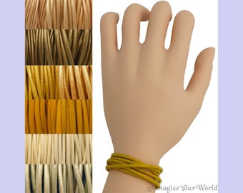 Custom Yellow LEATHER Cord Wrap Bracelet up to 72 inches long - choose shade, diameter, length, clasp color - 1.5 mm,  2 mm or 3 mm