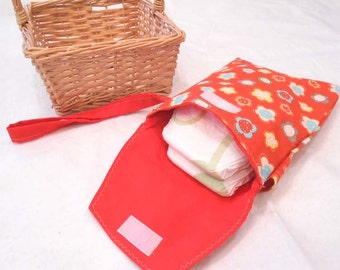 Diaper Bag, Diaper and Wipes Clutch, Diaper Wallet, Small Diaper Bag - Orange Flowers READY MADE