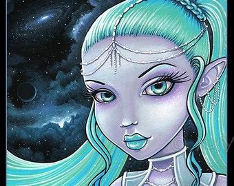Celestial Star Fairy Space Goddess Asteria 4X6 PRINT