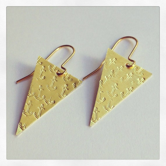 Anchor Design Brass Triangle Earrings - Sailor Jerry - Nautical - Geometric - Sea - Boat - Tattoo - Festival - Fun - Cute