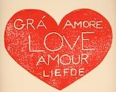 1st Anniversary Gift, Red Heart Print, Wedding Gift, Couples Print, Linocut Print, Valentine Gift, First Anniversary, Paper Anniversary