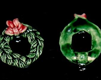 Ceramic  3d Christmas Wreath Bead