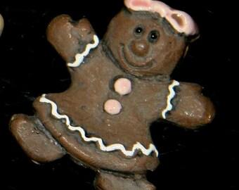 Ceramic Dark Gingerbread Girl Bead