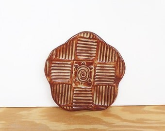 Stamped Stoneware Clay Trinket Plate in Shino Glaze - Turtle Stoneware Plate