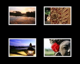 Bali Treasures - 3.5 x 5 photo cards set prints with blank cards and envelopes, red purple gold sunset clouds sky ornate carving zen Asian