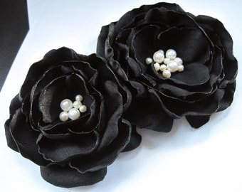 fabric flower brooch - large black blooms with ivory freshwater pearls - Made To Order