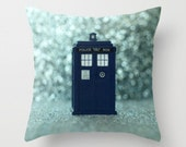 Tardis Pillow Cover Dr Who Tardis Character Pillow Blue Bokeh Police Box Pillow England Decor