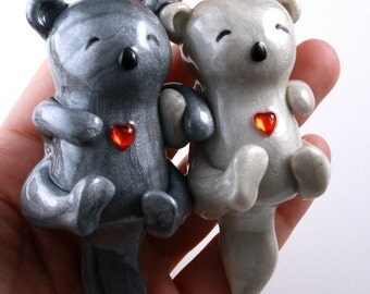 Significant Otters Holding Hands - clay animal sculpture - I Love You gift for anniversary or adorable wedding cake topper - made to order