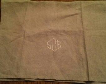 Vintage S C B  Monogrammed Linen Towel SBC