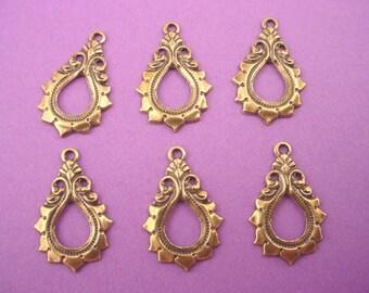 4 brass ox antiqued  art nouvea Victorian pear shape hoop 18mm