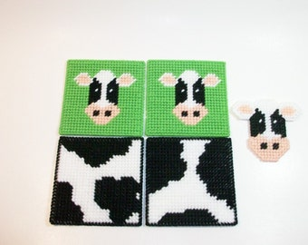 Country Cow Coasters & Matching Cow Magnet - Cow Design Drink Coasters - Cowhide Design Beverage Coasters - Cow Mug Rugs - Cowhide Bar Mats