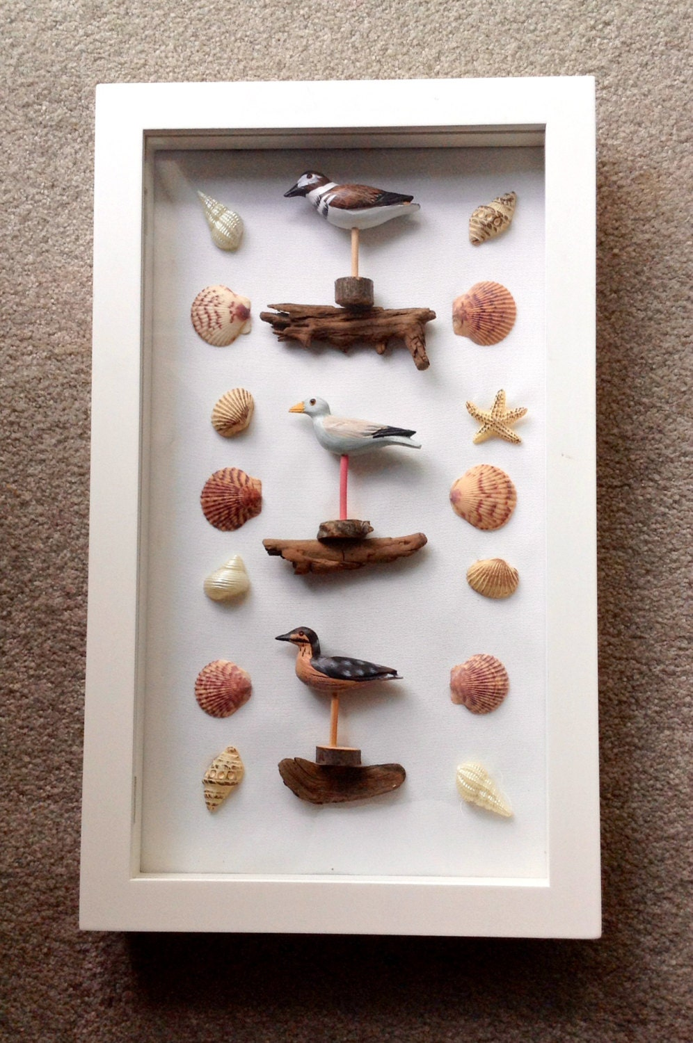 Beach theme home decor shadow box shore birds by kitscreations for Shore home decor