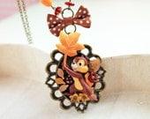 Chipmunk in flower necklace Kawaii Lolita squirrel style b