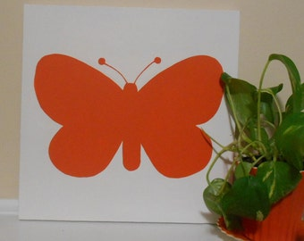Butterfly Nursery Art Modern Pop Art Canvas Hand Painted Orange