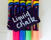 Liquid Chalk markers for writing on chalkboards, black card, chalkboard labels and windows, wipes clean with a damp cloth. White and neon.