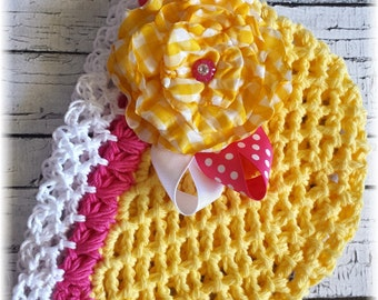 Oh Happy Day-Crochet Yellow Hot Pink and White Hat w/ Yellow Gingham Fabric Flower Clip w/ Polka Dot Ribbon Bow-Baby/Toddler Hat-Baby Shower