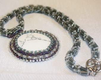Howlite Moon Necklace