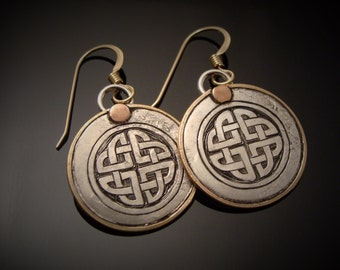 Hand Engraved Sterling Celtic Knot Earrings With 14k Gold Fill