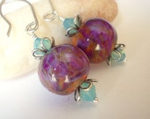 Mermaid Jewel Earrings purple rose haze artist lampwork beads on sterling silver ear wire oceanic sea elegant modern pink amber opal womens