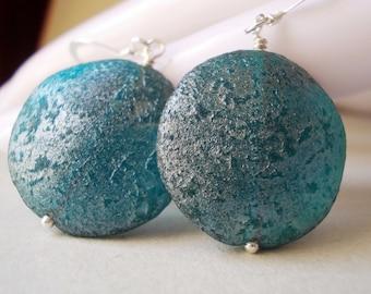 Blue Moon Earrings, 925 sterling silver glass earrings, dangle earrings for women large teal blue ocean sea Caribbean rustic drop earrings