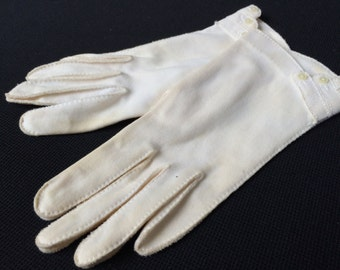 One (1) Pair of Vintage White Ladies' Gloves with Tiny Buttons