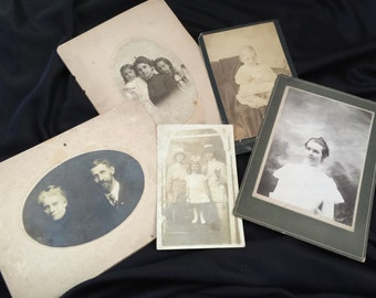 Lot of 5 Antique/Vintage Early 1900's Cabinet Card Photographs/Photos