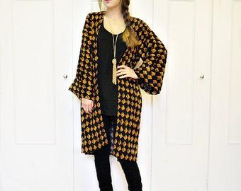 Tribal print duster jacket, kimono jacket, tribal jacket, boho kimono, duster jacket, boho clothing, tribal print, long kimono