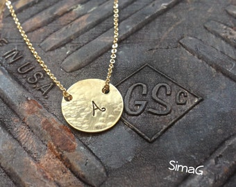 initial necklace - Simple ... Feminine ... Modern ... SMALL Hammered Gold Disc - By Simag