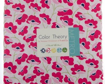 SALE 10 inch squares Layer Cake - COLOR THEORY Moda Fabric by V and Co.