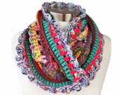 Crochet Circle Infinity Cowl Scarf Gypsy Hippe Inspired - Rhyme & Reason Series