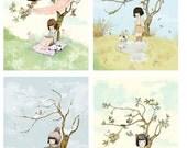 Seasonal set of 4 prints - Winter summer autumn spring  - Nursery wall Art - Baby Girl Nursery - Baby Nursery Prints -  Baby Nursery