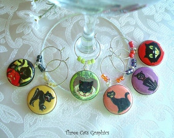 Retro Black Cats Wine & Drink Glass Charms - Set of Six