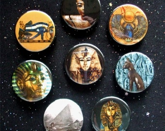 """Images of Ancient Egypt 1.25"""" Magnets or Pinback Buttons - Set of 8"""