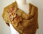 ON SALE NIDO - handknitting and crochet lace cover shoulders wrap poncho twisted mobius cowl - in gold - Made to order in one week