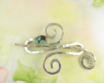 Silver Shawl Pin/Brooch Hand Formed Fancy Infinity with Genuine Turquoise