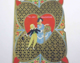 Vintage Fancy Antique Embossed Valentine Greeting Card with Little Boy and Girl Gold Gilded by Diamond Valentines