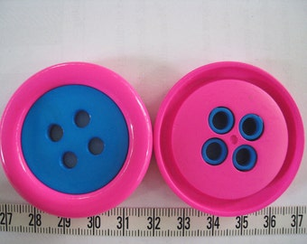 6pcs of Large Four Hole Button - 50mm or 2 inches - Two Tone Pink and Blue