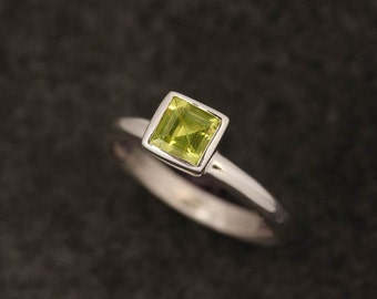 Peridot Ring,  Princess Solitaire or Stacking Ring, Gemstone Ring, Green Gemstone, Sterling Silver READY TO SHIP Size 7